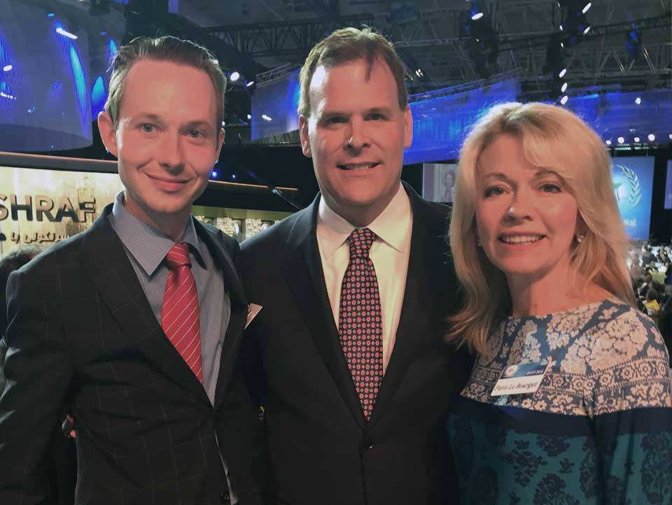 MP Cooper with MP Bergen and Honourable John Baird at massive gathering in Paris for Freedom for Iran.