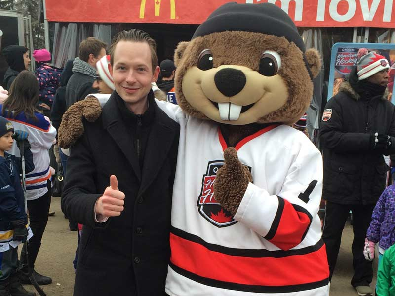 Michael with the Hometown Hockey Mascot