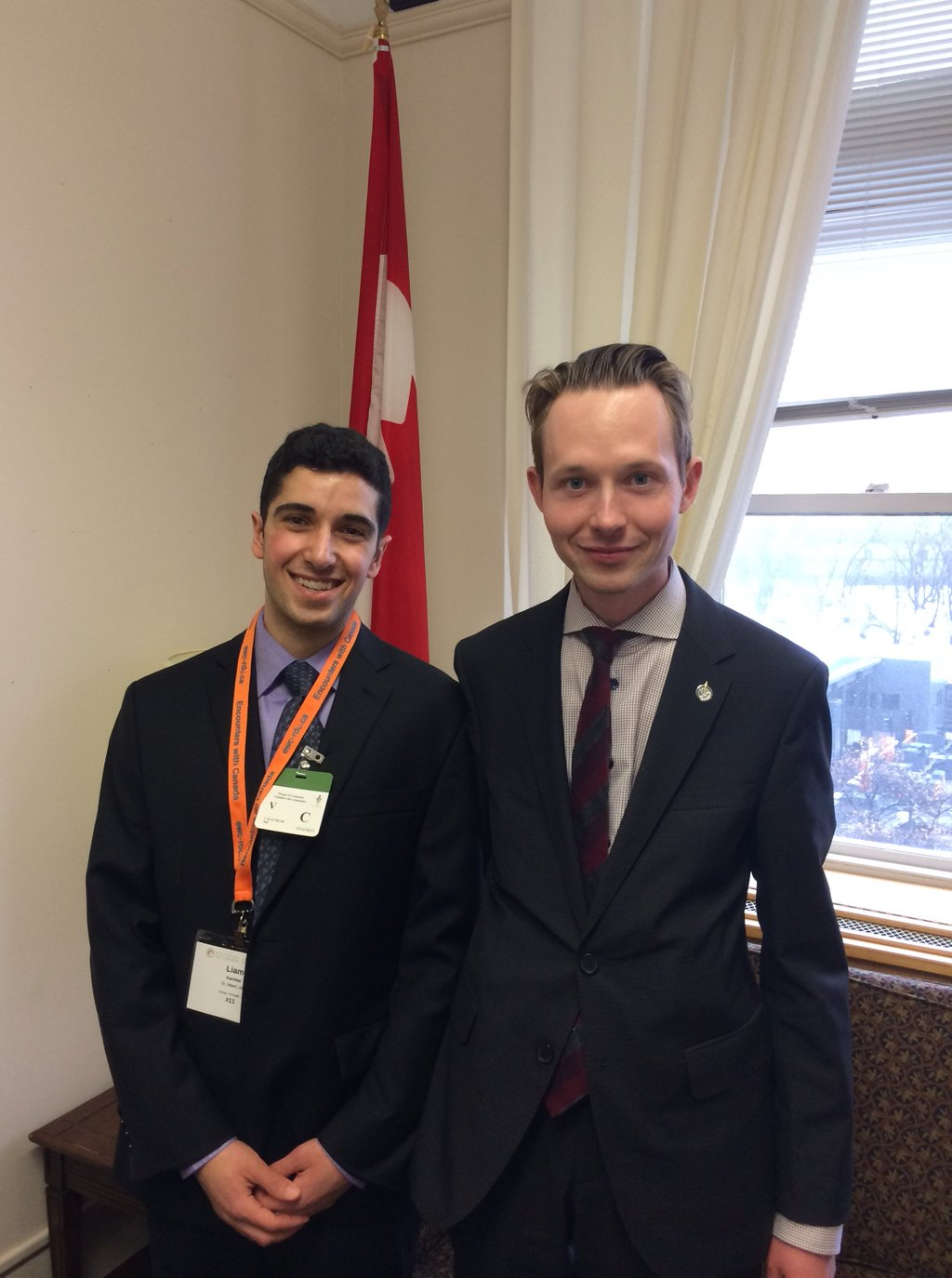 With Paul Kane student Liam Kachkar. Liam was in Ottawa as part of the Encounters with Canada program.