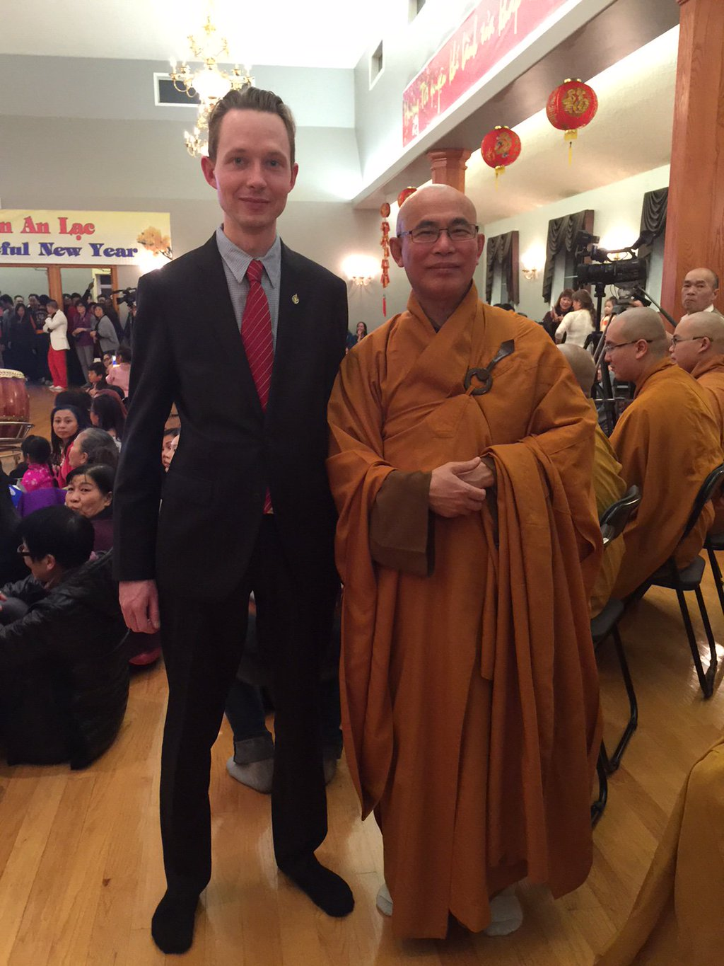 With Master Lam at the Truc Lam Monastery for the Tet New Years' celebration.