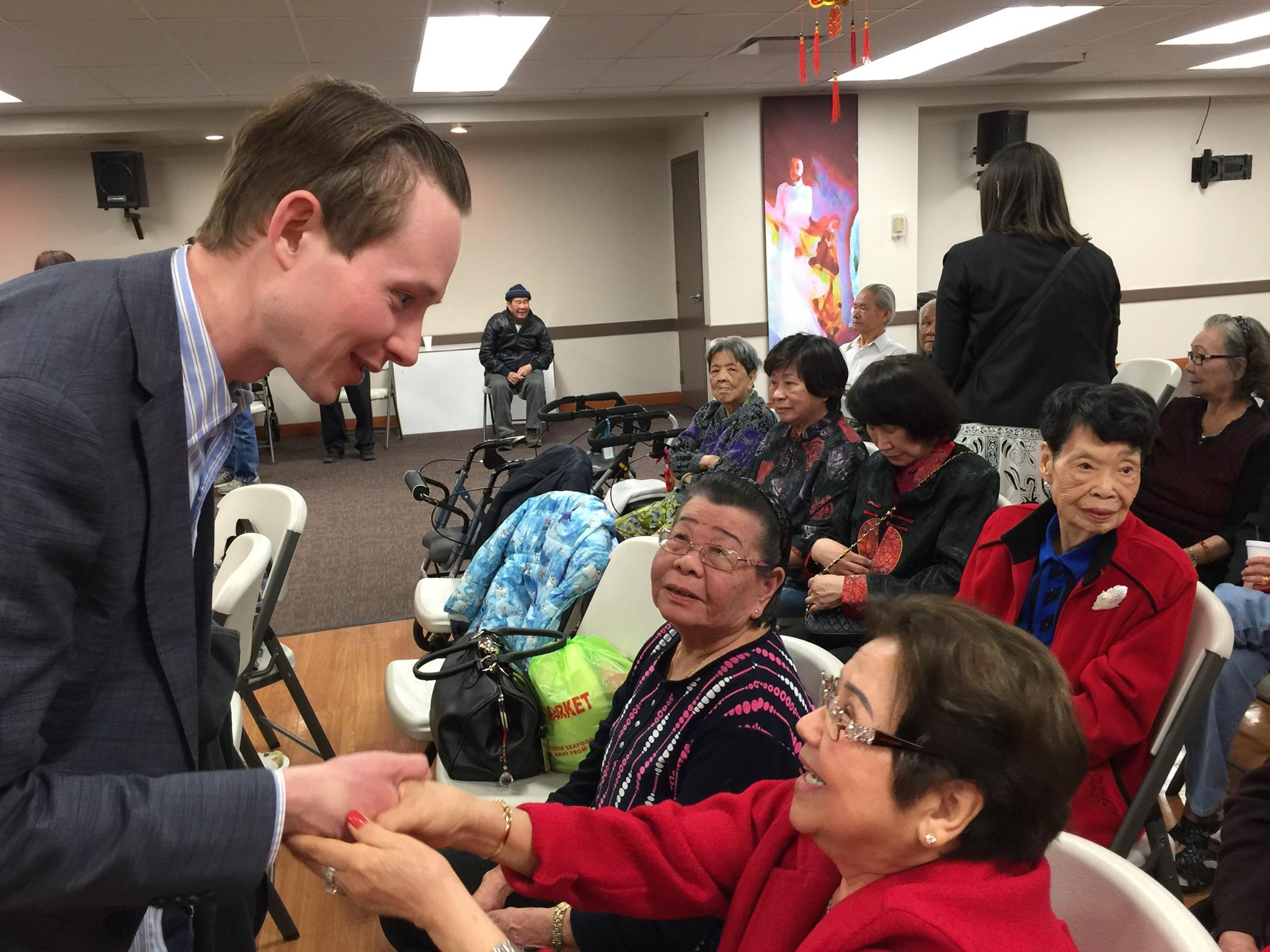 Visiting with seniors at the Tuoi Hac Golden Age Manor in northwest Edmonton.