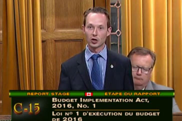 Speech on Bill C 15 (Budget)