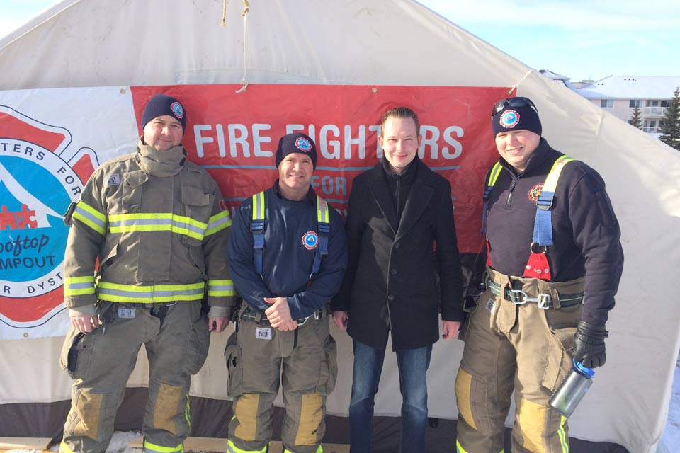 I attended the kickoff of the 7th annual St. Albert Firefighters Rooftop Campout in Support of Muscular Dystrophy. St. Albert Firefighters raised a total of $48,956 for the cause