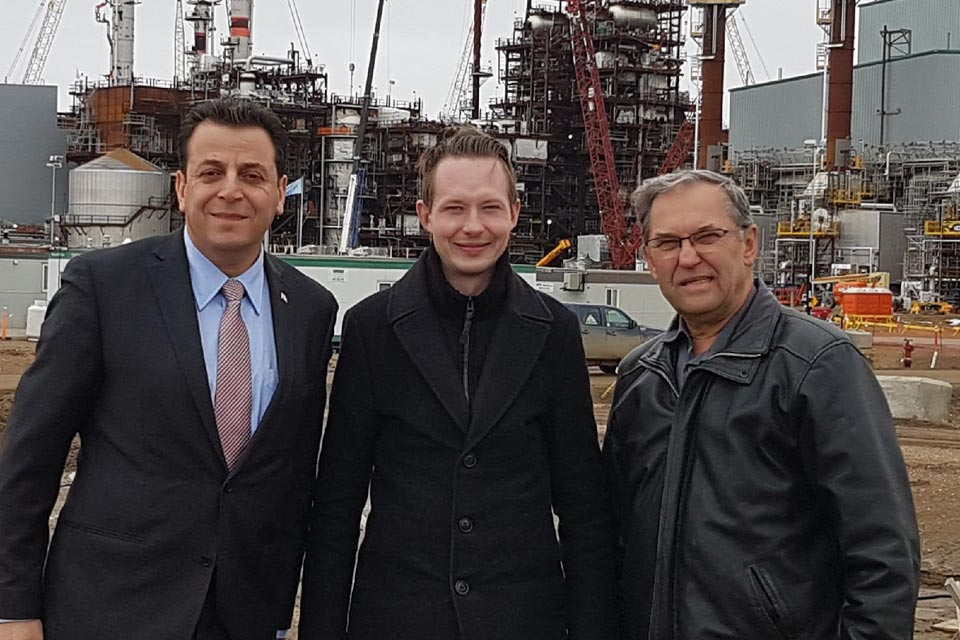 Touring the soon-to-be completed first phase of the Sturgeon Refinery with Sturgeon Mayor Tom Flynn and MP Ziad Aboultaif