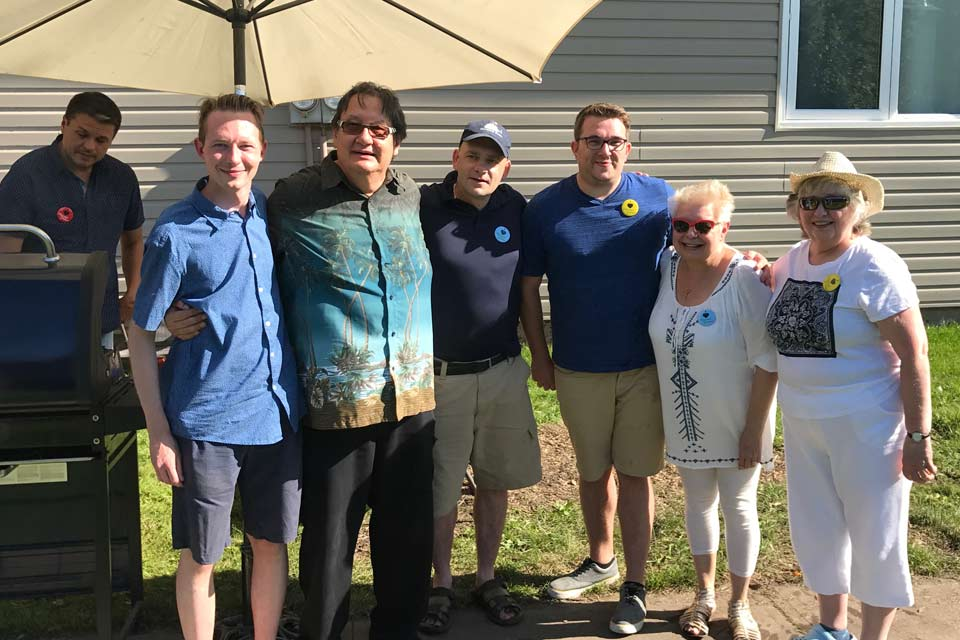 With residents at the Akinsdale Gardens Block Party