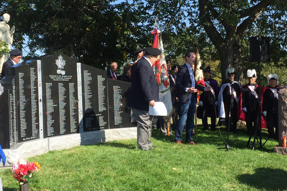 Attending the unveiling of a Monument at Holy Cross Cemetery to recognize the service and sacrifice of Polish veterans who fought valiantly in World War II